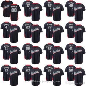 2018 All-Star Game Springer Ramirez Machado Haniger Brantley Torres Altuve Trout Kluber Martinez American League Baseball Stiched Jersey 02