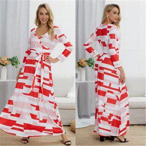 Tasarımcı Yeni Kadın Bandaj Günlük Plaj Elbiseler Kadınlar V yaka Colorblocked Elbise Moda Uzun Kollu Yağ mm Uzun Etek Giyim