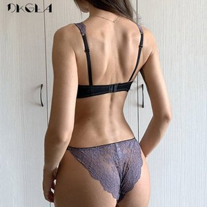 Novíssimo Roxo Lingerie Sexy Bra Plus Size C D Cup White Lace Underwear Set Transparent Bras Bordados Mulheres Brassiere Y200415 aXhT #