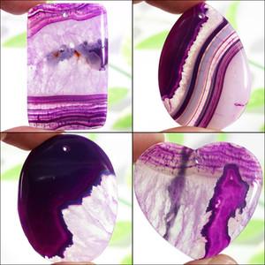 Fubaoying Natur Druzy Geode Agates Halskette Stein Lila Kristallhöhle Spitze Anhänger-Charme für Schmuck-Herstellung