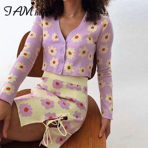 Camisola floral Y2K Cardigan Tie Up Dividir Skirt Two Piece Set Mulheres bonito Matching Aesthetic coreana Harajuku terno feito malha Iamhotty