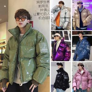 Collar Januarysnow nuevo invierno flojo brillante tela de cuero de la chaqueta del viento caliente grueso capa de los hombres mujeres pareja púrpura Algodón Ropa