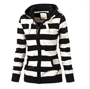 Color Hoodies Womens Clothing Womens Designer Striped Print Hoodies Casual Long Sleeve Zipper Hoodies Fashion Natural