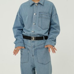 Mcikkny Men's Loose Casual Bib Overalls With Belt Multi Pockets Jeans Jumpsuit For Male Hip Hop Size M-XL