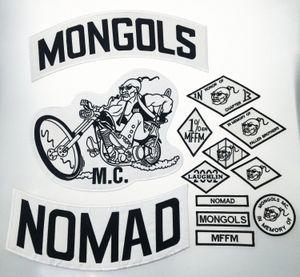 De calidad superior MONGOLES NOMAD MC motorista chaleco bordado Parche 1% MFFM en la memoria hierro en completa espalda de la chaqueta de Motorcyle de envío libre de parche fXEX #