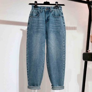 Bordado Jeans Mulher cintura alta Plus Size Loose Comprimento total Mom Jeans azul retro Harem Denim Pants CX200821