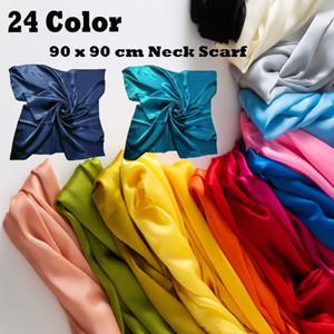 24colors Muti-Funktions Satin Silk Große 90x90 cm Platz Plain Wasser Kopf-Hals-Schal-Verpackungs-Neck Handkerchief Stirnband