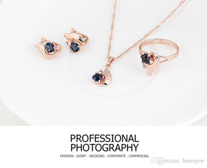 Bridesmaid Jewelry Set Solid Gold Crystal Jewelry Gemstone Rings Jewellery Party Jewelry Set