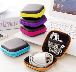 Contenitore auricolari scatola del sacchetto per la cuffia USB via cavo Nuova protezione auricolare copertura del cuoio di mini Zipper la cuffia sacchetto dell'unità di elaborazione portatile