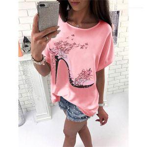 Topuklu ayakkabı Baskılı Kısa Kollu Tatlı Stil Moda Bayan Giyim Yaz Kadın Tasarımcı Casual Tshirts High Tops