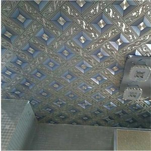 WELLYU High-end luxury ceiling wallpaper gold foil silver diamond lattice wallpaper KTV living room bar aisle roof wall paper