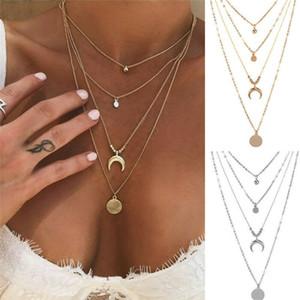 New Vintage Серебро Золото Многослойные Choker Круг Луны Подвеска Длинные цепи ожерелье для женщин Богемия ювелирные изделия