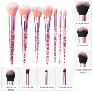 7 Pcs Transparent Flash Drill Handle Foundation Eye Makeup Brush Glitter Crystal Makeup Brushes Set