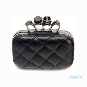 Мода женщина конструкторов-Кожа Evening Ручной клатчи Creepy Череп Кольцо сумка Halloween Party цепь сумка на ремне, плед кошелек