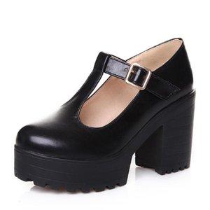 Обувь платье Доратазия Т-ремешок пряжки ремень Сплошная Мэри Джанс платформа Женщина женщина повседневная весна осенние насосы большой размер 34-46