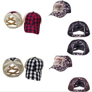 Criss Cross gorra de béisbol 13 estilos leopardo mamá Vida Bufflao tela escocesa Trump 2020 Caps gorro de béisbol de alta sucia bollos del camionero del potro OOA8502