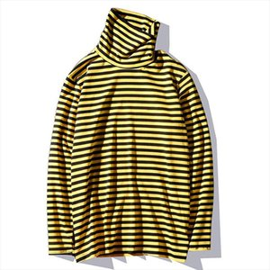 2020 new Kpop Korean Harajuku Black and Yellow Striped Turtle Neck Long sleeved Cotton Oversized Loose Unisex