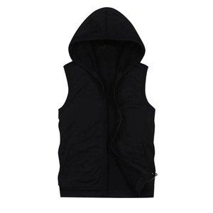 Мужские толстовки для толстовки мужские без рукавов сверху черные с карманами мода повседневная толстовка с капюшоном мужчины мужские хип-хоп Hoodie Sportswear
