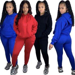 Womens long sleeve outfits 2 piece set tracksuit shirt legging jogging sportsuit sportswear sweatshirt tights hot klw5048