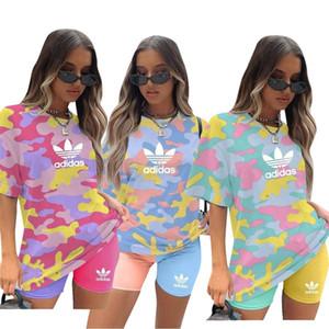 t-shirt Donna pantaloncini sportivi desinger abiti estivi 2 pezzo girocollo insieme S-2XL manica corta in Suits Capris tuta Lettera Sport 3645