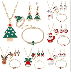Christmas Jewelry Sets Santa Claus Xmas Tree Bells Elk Necklace Earrings Bracelet Ring 4pcs set Kids Women Girls Christmas Gift