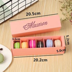Caixas de bolo da caixa de macaron Casa feita Macaron Caixas de Chocolate Biscoito Caixa de Muffin de Muffin Embalagem de Papel 20.3 * 5.3 * 5.3cm Black Rosa GWC2465