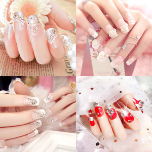 24PCS lange Künstliche Nägel Wedding Nail Dekoration Shiny Strass Glitter Blume Press On False Nails Tipps