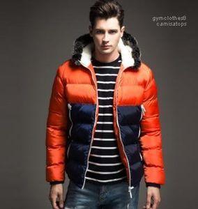 mmens Capuche manteaux d'hiver designer Couleurs chaudes épaisses vestes patchwork vers le bas