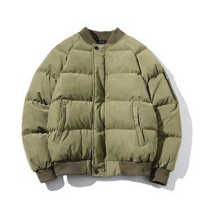 YASUGUOJI New 2020 Man Winter Jacket Parka Casual Thicken Warm Jacket Men Fashion Solid Color Corduroy Cotton Padded Mens Coats