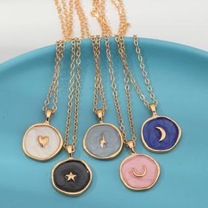 Cadeia Novo Design Gota do petróleo redonda colar de ouro pingente banhado estrelas Lua coração pingente de colar de ouro encantos Pendant Jewelry presente