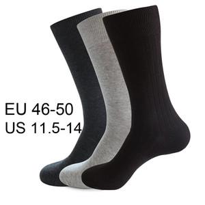 Alta qualità 10 pc = 5 paia pettine Cotton Men Dress Calze Plus Size Solido Nero calzini di colore Long Business Classic 46 47 48 49 50 200924
