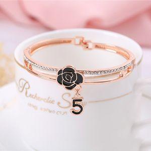 Fashionable Accessories Rose Gold Set Diamond Jewelry Bracelet Watch Chain Ins Trend Web Celebrity Elegant Bracelet Gifts For Girlfriend