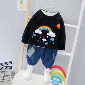 Hot Autumn and winter fashion toddler child girl baby boy letter love long sleeve + jeans children clothes kid set