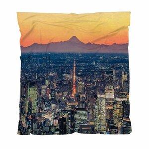 Mejor Quailty manta manta del tiro, fondo Tokio horizonte al atardecer con Mt, Sofá / Silla / asiento de amor / autocaravana Manta