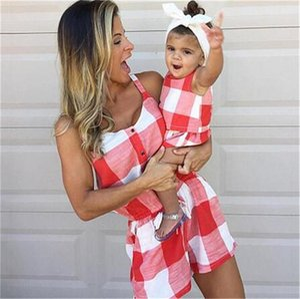 Anne ve Kızlar Ekose Tulum Şortları Kolsuz Kıyafetler Izgara Sundress Tulum Moda Ekose Kolsuz Tulum Giyim LY824