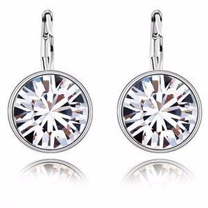 925 серебряных кристаллов мотаться серьги падения Круглого Leverback серьги для женщин Элегантных партий Свадебных украшений подарков