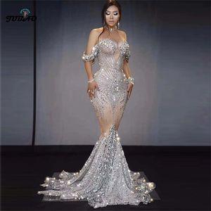 sparkly rhinestone dress maxi dress mermaid silver robes sexy women birthday luxury evening party designer drag queen costumes0921