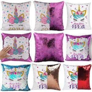 Реверсивный Флип Unicorn пришивания Наволочка Магия Русалка PillowCover Декоративные Throw Подушка чехол рождественские подарки WX9-1543