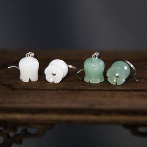 """Valley eardrop kısa mizaç Eardrop Beyaz Beyaz Jade Ulusal Jade xz4m ait S925 gümüş doğal Dongling Lily \ """"Vadisi \ Lily"""""""