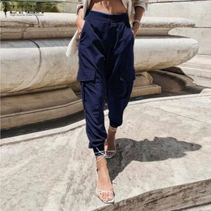 Calças Mulheres alta cintura solta Streetwear calças largas Carga Tactical Calças Sólidos Corredores Nabo Harem Pantalon