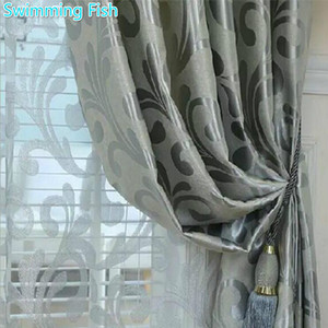 Home Deco Jacquard Curtain Thickening Blackout Cloth Curtain For Bedroom Living Room Window Blind Drape Hotel Tulle