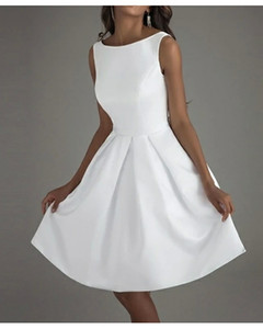 Back To School A-Line Minimalist White Graduation Cocktail Party Dress Boat Neck Sleeveless Knee Length Polyester with Bow(s) Pleats 2020 Ho