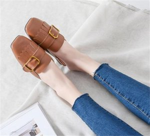 Luxury Ladies Shoes tassel metal square buckle slipper women outdoor breathable leather mules woman autumn low heel slides woman mules shoes
