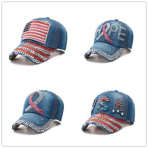 Donald Trump Denim Casquette de baseball en plein air I love Trump 2020 sports chapeau strass Cap rayé USA Drapeau Cap Snapback gros DWF806