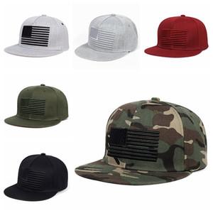 Amerikanische Flaggen-Stickerei-Baseballmütze Sunscreen Unisex Hip Hop Adjustable Snapback Cap Anpassbare Cotton Street Dance Hats VT1563