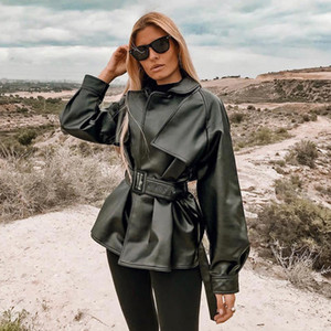 2020 Women Jacket Moto Biker Solid Autumn Winter Sexy Leather Female Long Sleeve Solid Belt Fashion Street Coat Outwear