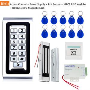 Système de contrôle d'accès porte Kit RFID de contrôle d'accès en alliage brillant rétro-éclairage du clavier + Alimentation + électrique magnétique Bolt Serrures de grève