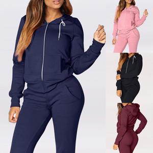 Autumn Desportos de Inverno Suit Mulheres Fatos velo Pullover cobre camisas executando Suits Set Jogging Sweatpants Sportswear Yoga Set