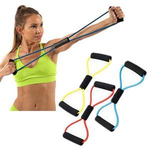 ABD Stok Toptan 8-Şekilli Direnç Egzersiz Bantları Yoga Spor Salonu Spor Çekerek Halat Elastik Egzersiz Kas Eğitimi 200pc / Karton