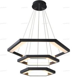 Anéis modernos LED Pendant Chandelier Lamp Regulável Preto Ouro Branco Circular de suspensão Suspensão luz do quarto Lâmpada brilho remoto